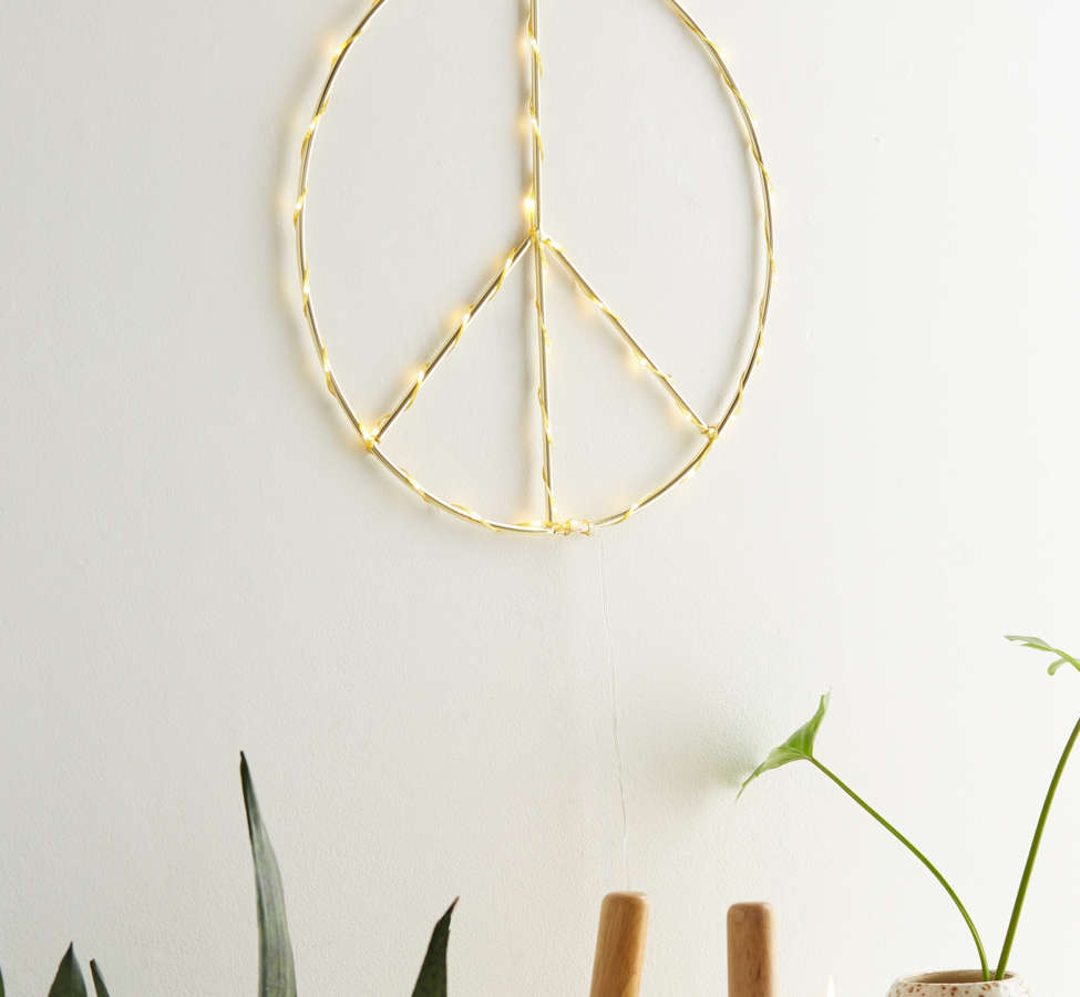 Slide View: 3: Peace Sign Light Sculpture