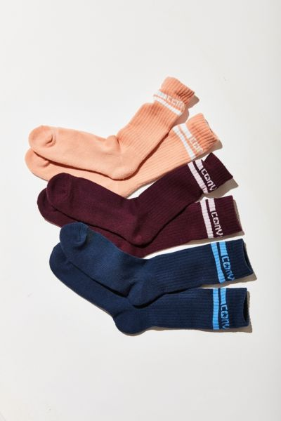 Converse Double Stripe Crew Sock 3 Pack - Blue Multi One Size at Urban Outfitters