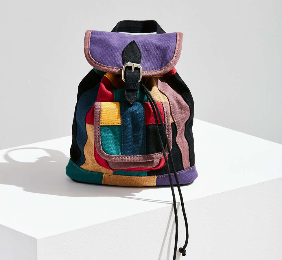 Slide View: 1: Mini Canvas Patchwork Backpack