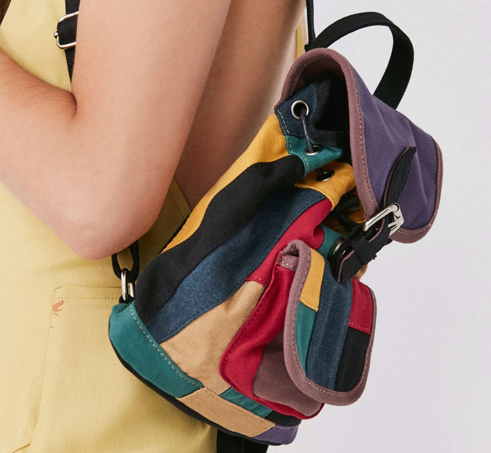 Slide View: 3: Mini Canvas Patchwork Backpack