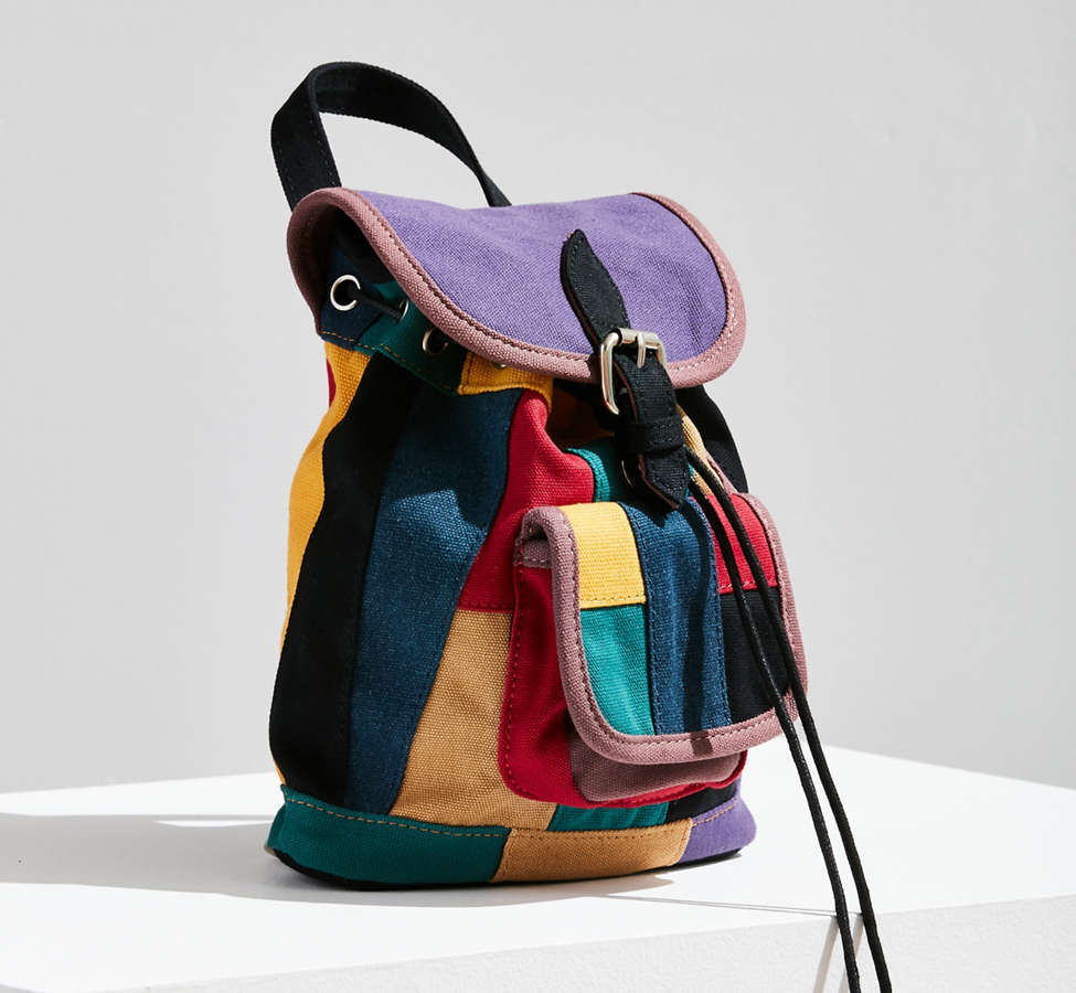 Slide View: 4: Mini Canvas Patchwork Backpack