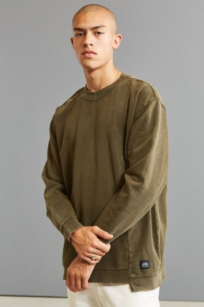 Cheap Monday Default Washed Crew Neck Sweatshirt - Green S at Urban Outfitters