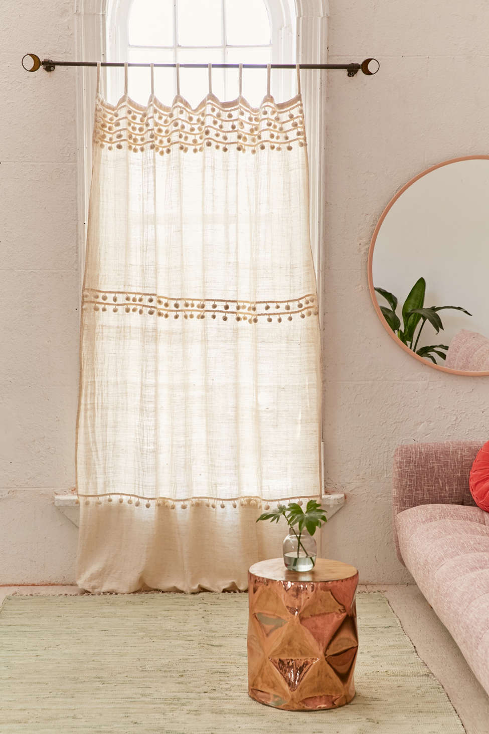 Slide View: 1: Averi Pompom Gauze Window Curtain