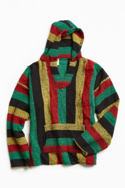 Vintage Stripe Woven Pullover Hoodie Sweatshirt
