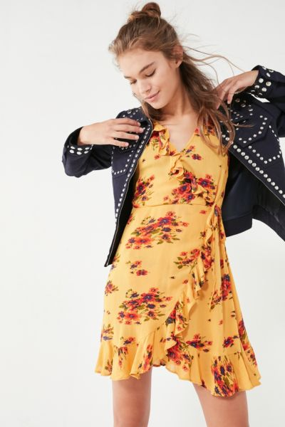Pins And Needles Ruffle Wrap Dress - Yellow XS at Urban Outfitters