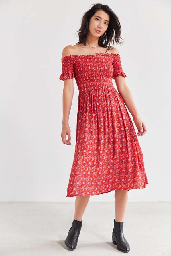 Kimchi Blue Off-The-Shoulder Smocked Dress