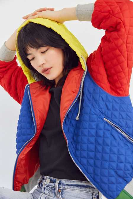 BDG Pip Color Block Quilted Hoodie Jacket