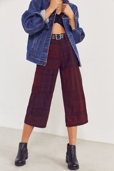 BDG Anna Patchwork Plaid Cropped Pant - Red 2 at Urban Outfitters