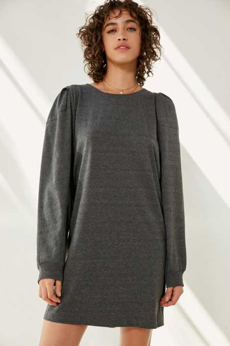 Silence + Noise Rachel Shirred Long Sleeve T-Shirt Dress