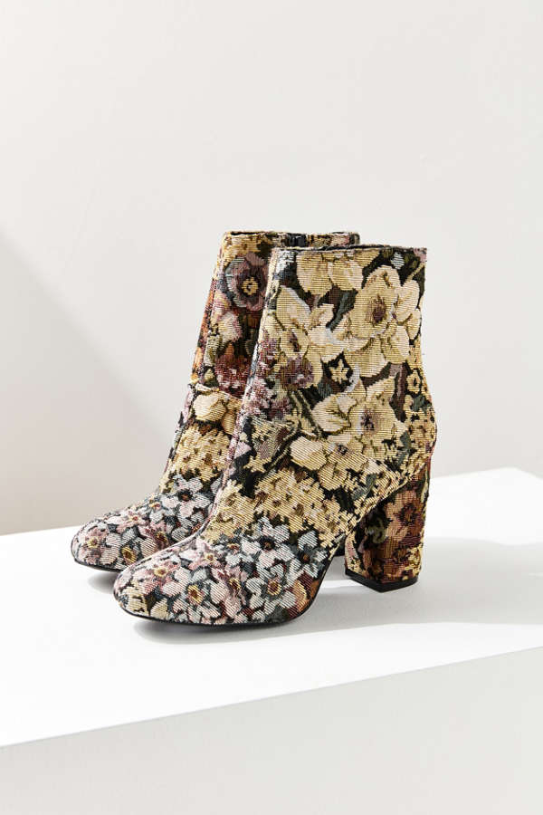 Slide View: 2: Emma Floral Jacquard Ankle Boot