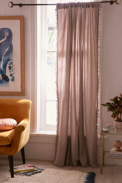 Palma Fringe Light Blocking Window Curtain - Grey 84