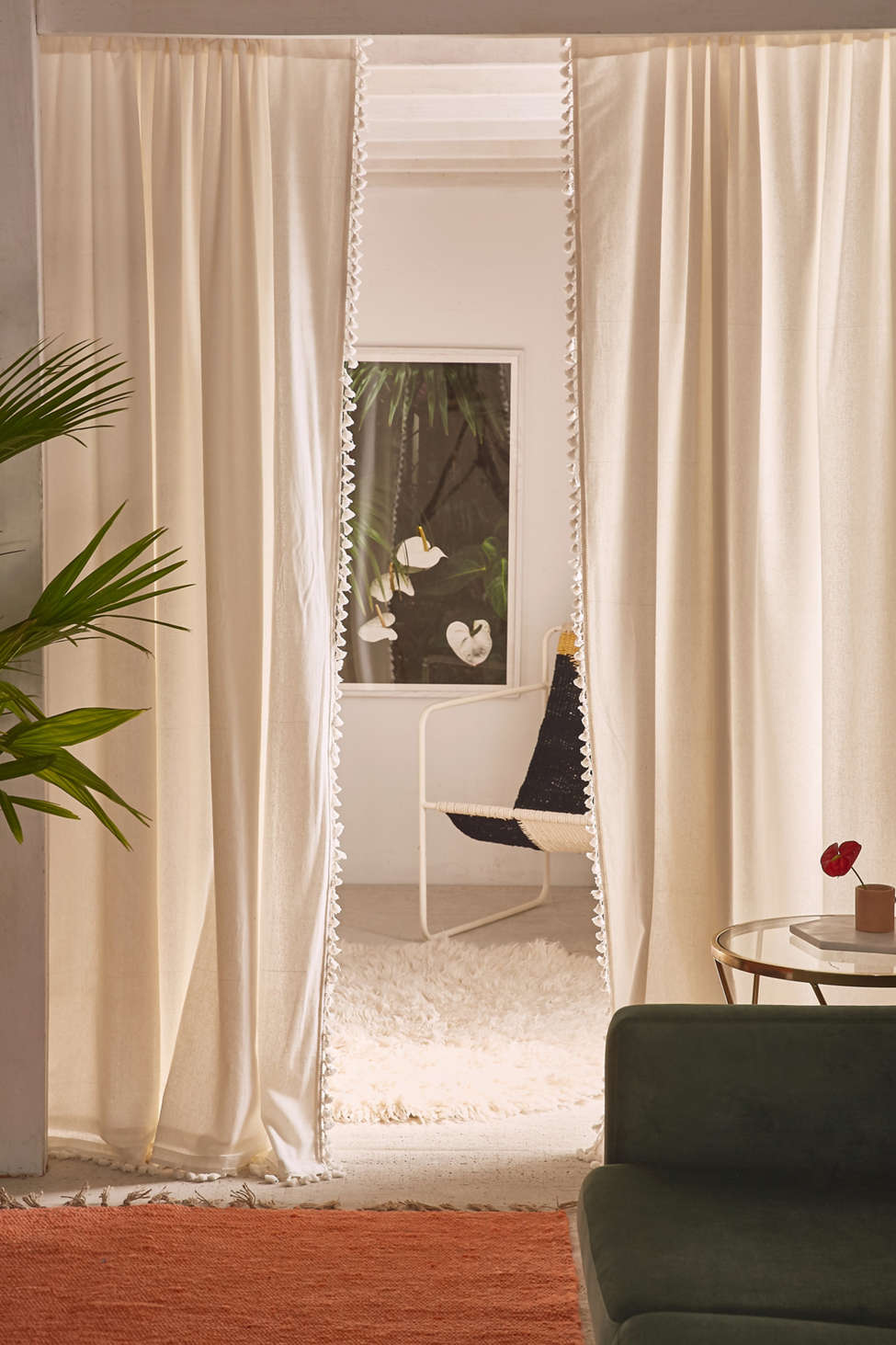 Slide View: 1: Palma Fringe Light Blocking Window Curtain
