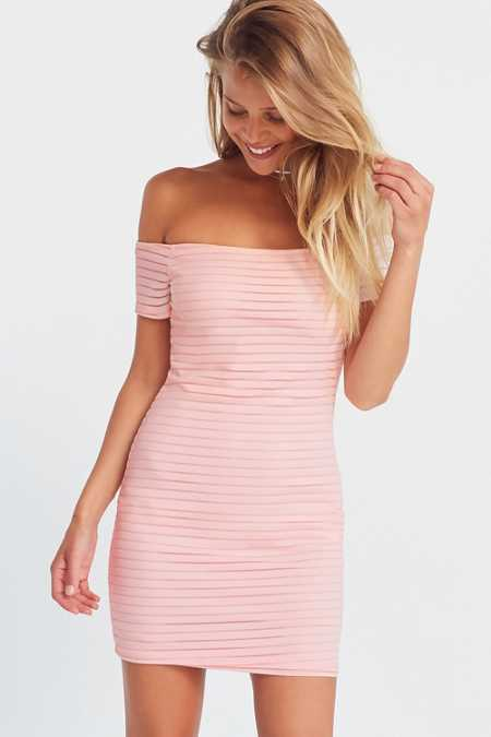 Silence + Noise Shadow Striped Off-The-Shoulder Bodycon Dress