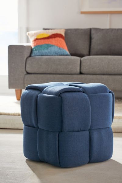 Topper Woven Ottoman - Navy One Size at Urban Outfitters