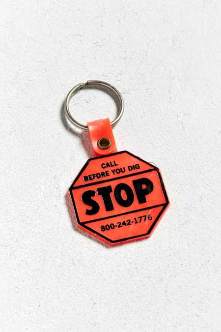 Vintage Stop Before You Dig Keychain