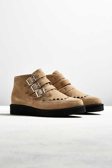 T.U.K. 3-Strap Buckled Suede Creeper Boot