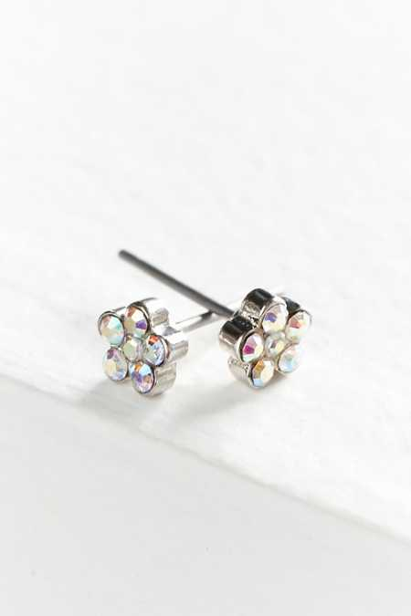 Mini Rhinestone Flower Post Earring