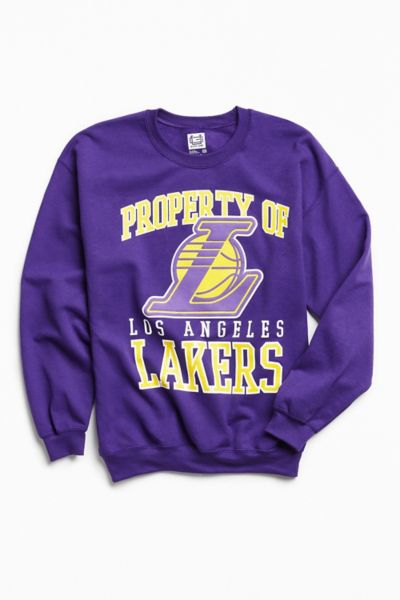 Los Angeles Lakers Crew Neck Sweatshirt - Purple S at Urban Outfitters