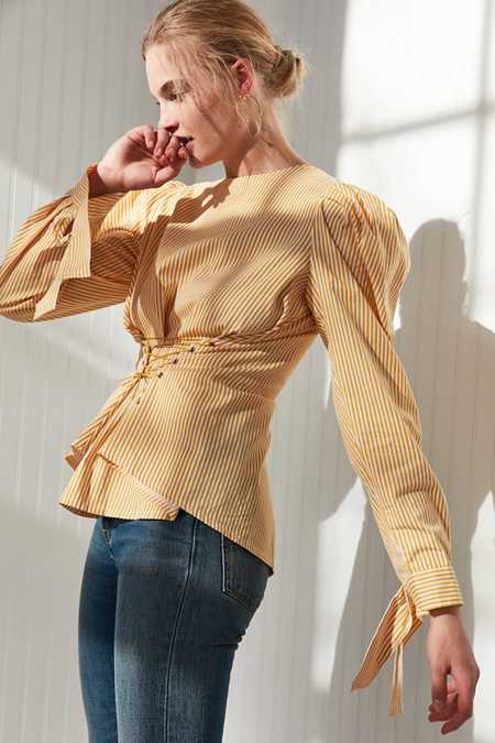 Style Mafia Shirred Shoulder Corset Shirt