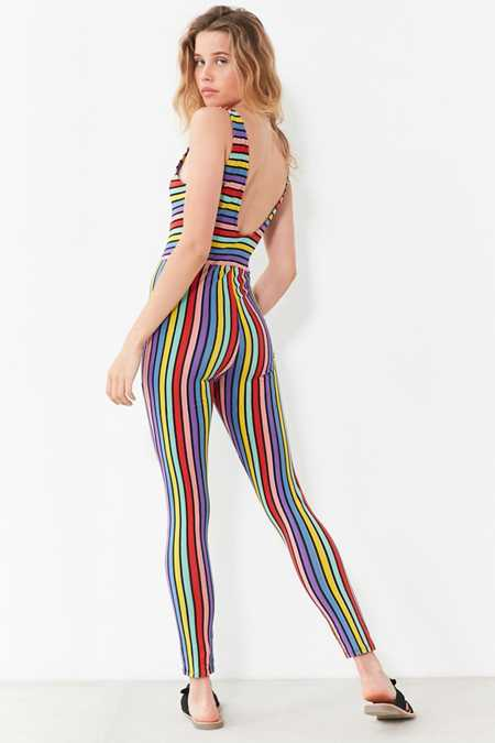 Motel Over The Rainbow Striped Bodycon Jumpsuit