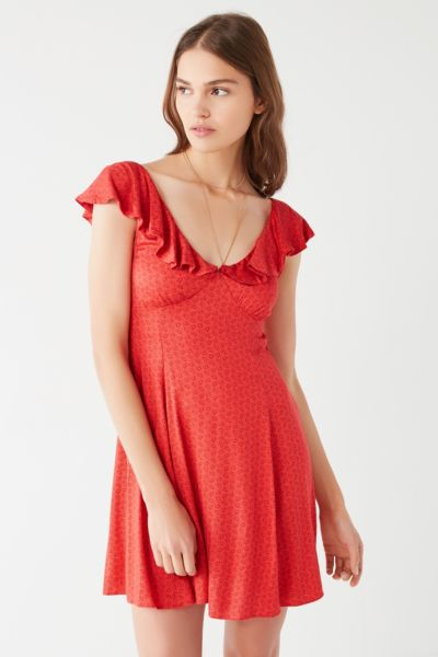 Kimchi Blue Daisy May Ruffle Dress - Red XS at Urban Outfitters