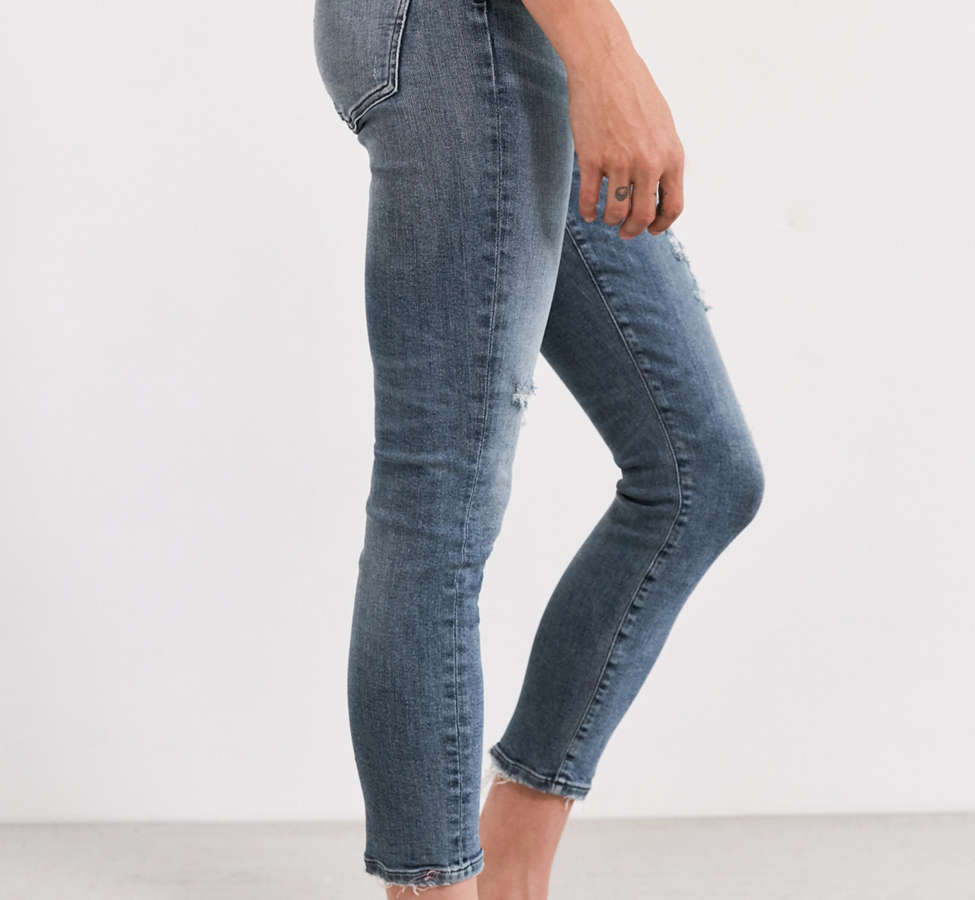 Slide View: 3: AGOLDE Sophie High-Rise Distressed Cropped Skinny Jean – Spell
