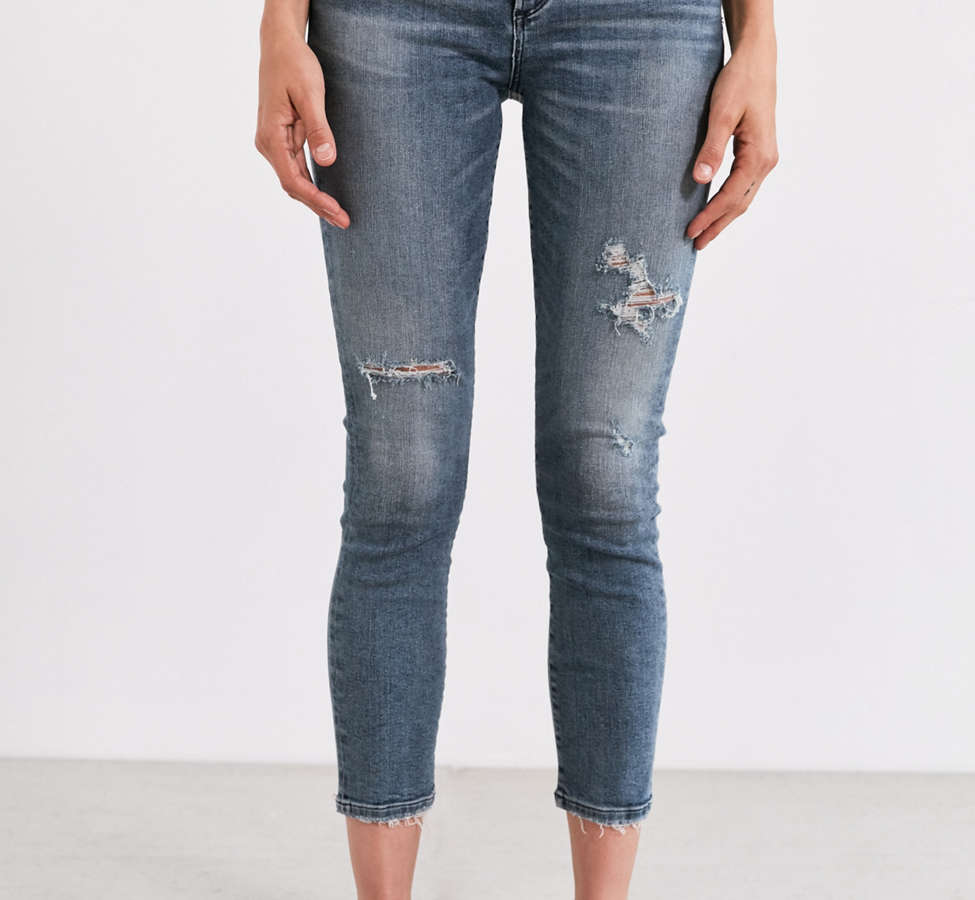 Slide View: 5: AGOLDE Sophie High-Rise Distressed Cropped Skinny Jean – Spell