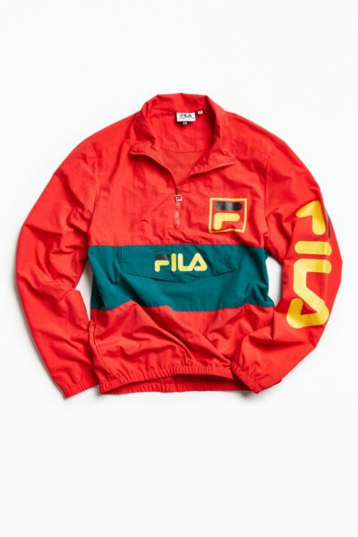 FILA Kensington Anorak Jacket - Red L at Urban Outfitters