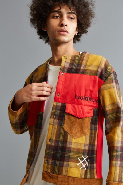 Lucid FC Plaid Wool Shirt Jacket - Yellow S at Urban Outfitters