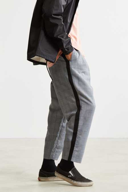 UO Sidestripe Checkered Menswear Pant