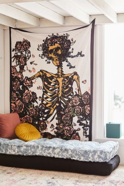 Grateful Dead Skeleton N Roses Tapestry Urban Outfitters