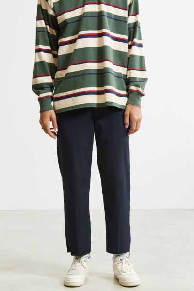 Shore Leave For Urban Outfitters Rory Cutoff Pinstripe Trouser Pant - Navy 32W 32L at Urban Outfitters