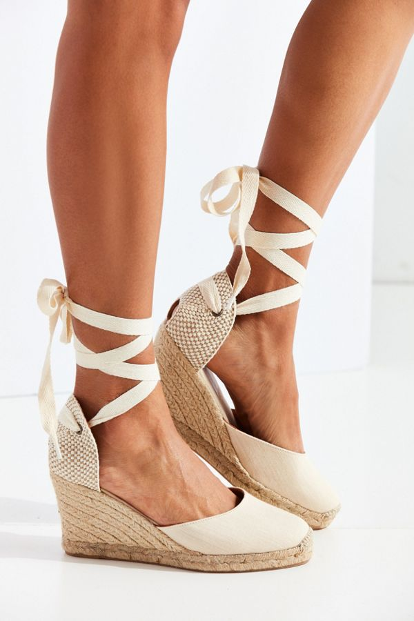 Slide View: 1: Soludos Linen Espadrille Tall Wedge Sandal