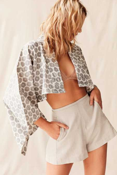 Urban Renewal Recycled Cropped Kimono Top