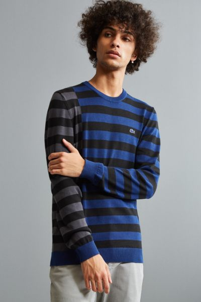 Lacoste Broken Stripe Crew Neck Sweater - Navy M at Urban Outfitters
