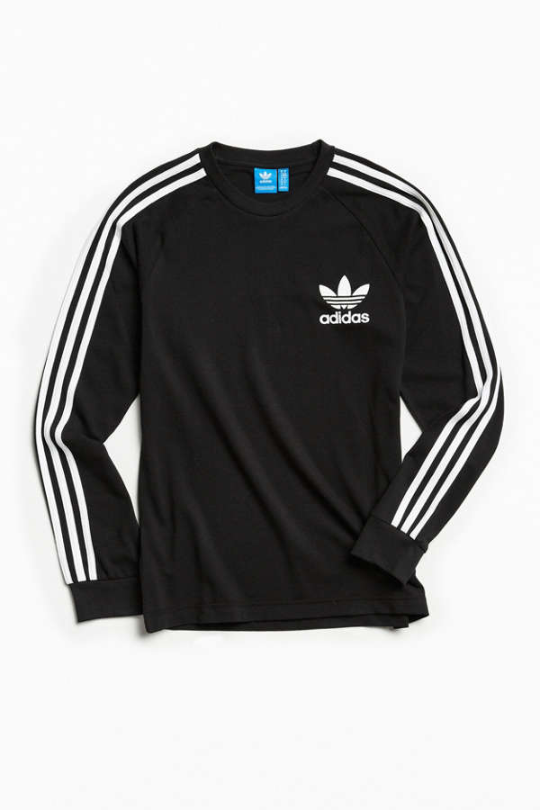 adidas Pique 3-Stripes Long Sleeve Tee   Urban Outfitters 67064d4e0a