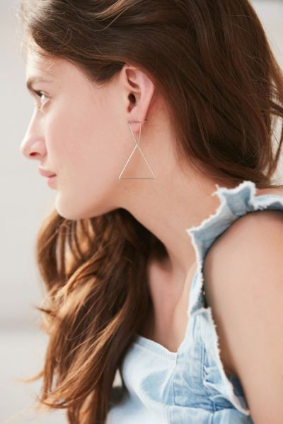 Stacked Shape Drop Earring - Silver One Size at Urban Outfitters