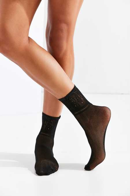 Out From Under Lace Cuff Fishnet Crew Sock
