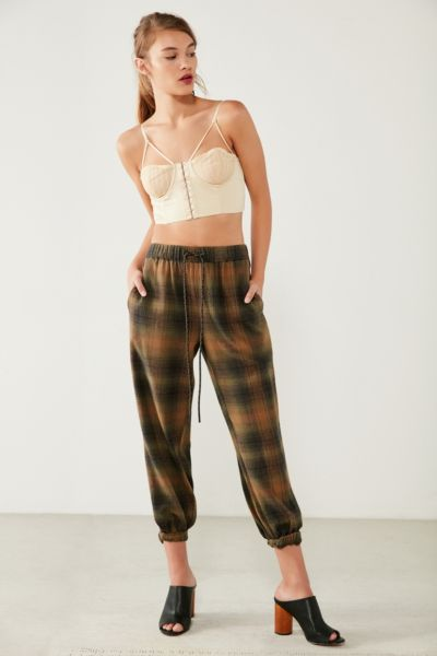 BDG Steph Plaid Flannel Jogger Pant - Olive XS at Urban Outfitters
