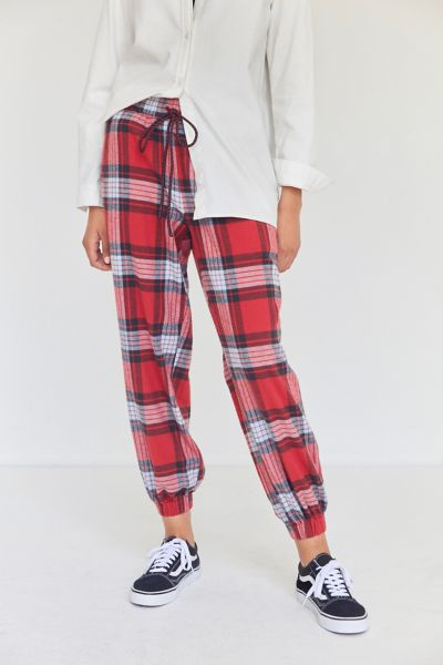 BDG Steph Plaid Flannel Jogger Pant - Red XS at Urban Outfitters