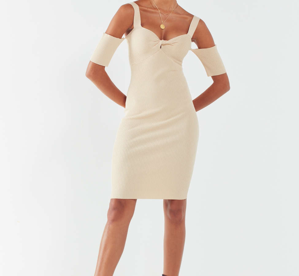 Slide View: 1: MINKPINK Ribbed Cold-Shoulder Mini Dress