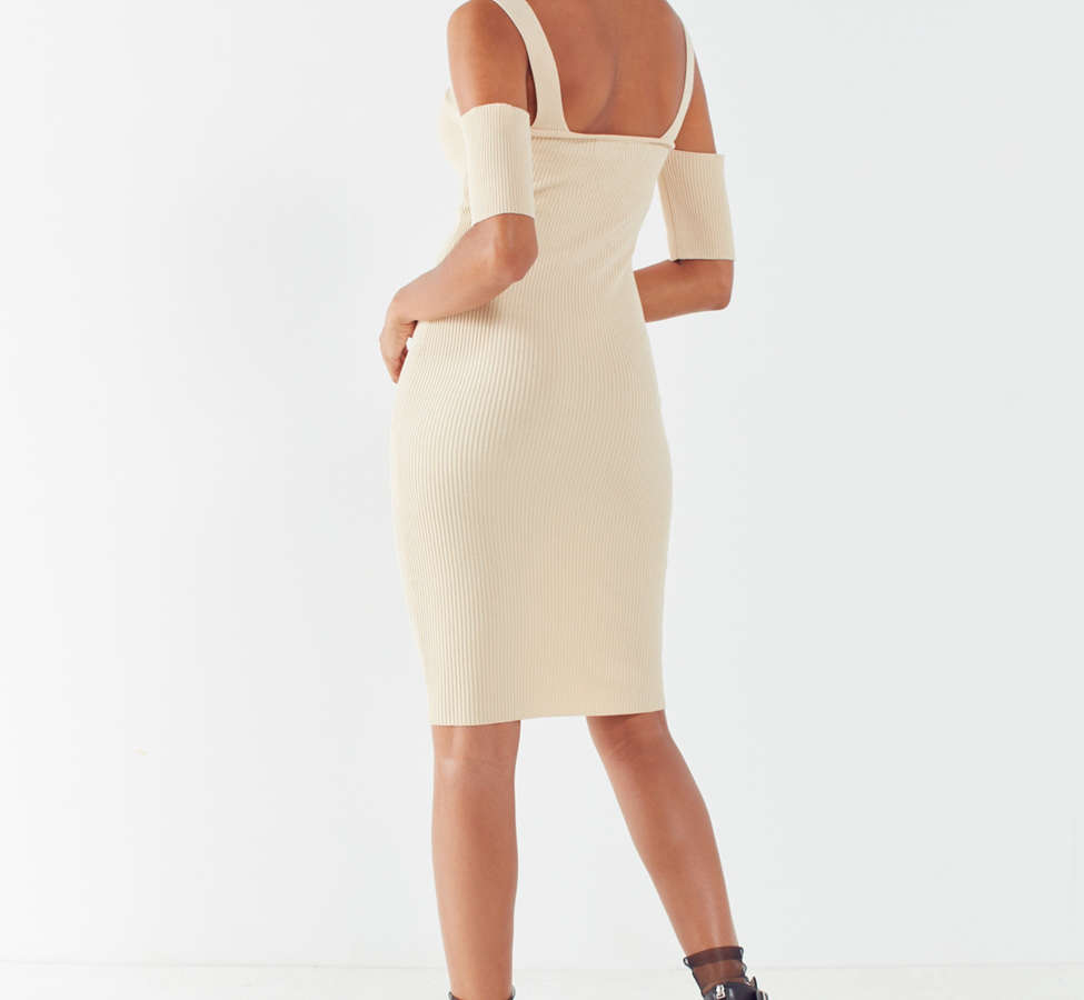 Slide View: 2: MINKPINK Ribbed Cold-Shoulder Mini Dress