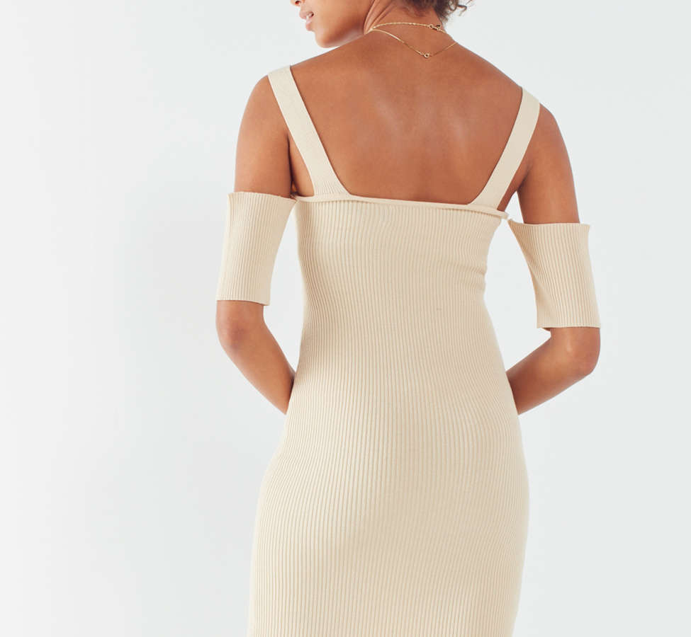 Slide View: 5: MINKPINK Ribbed Cold-Shoulder Mini Dress