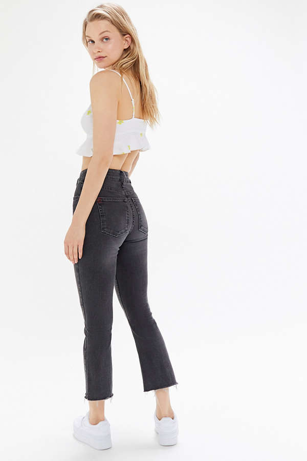 BDG Kick Flare High-Rise Cropped Jean - Black | Urban Outfitters