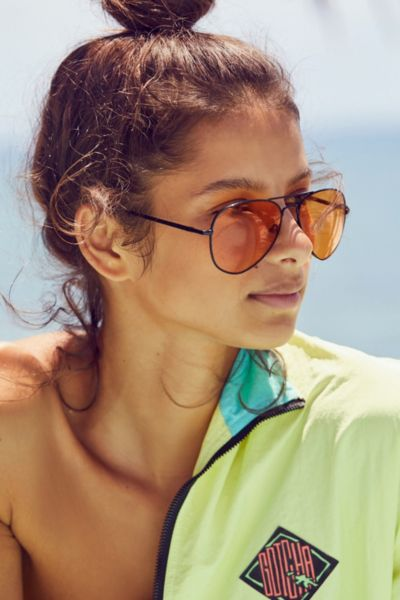 Good Vibes Aviator Sunglasses - Orange One Size at Urban Outfitters