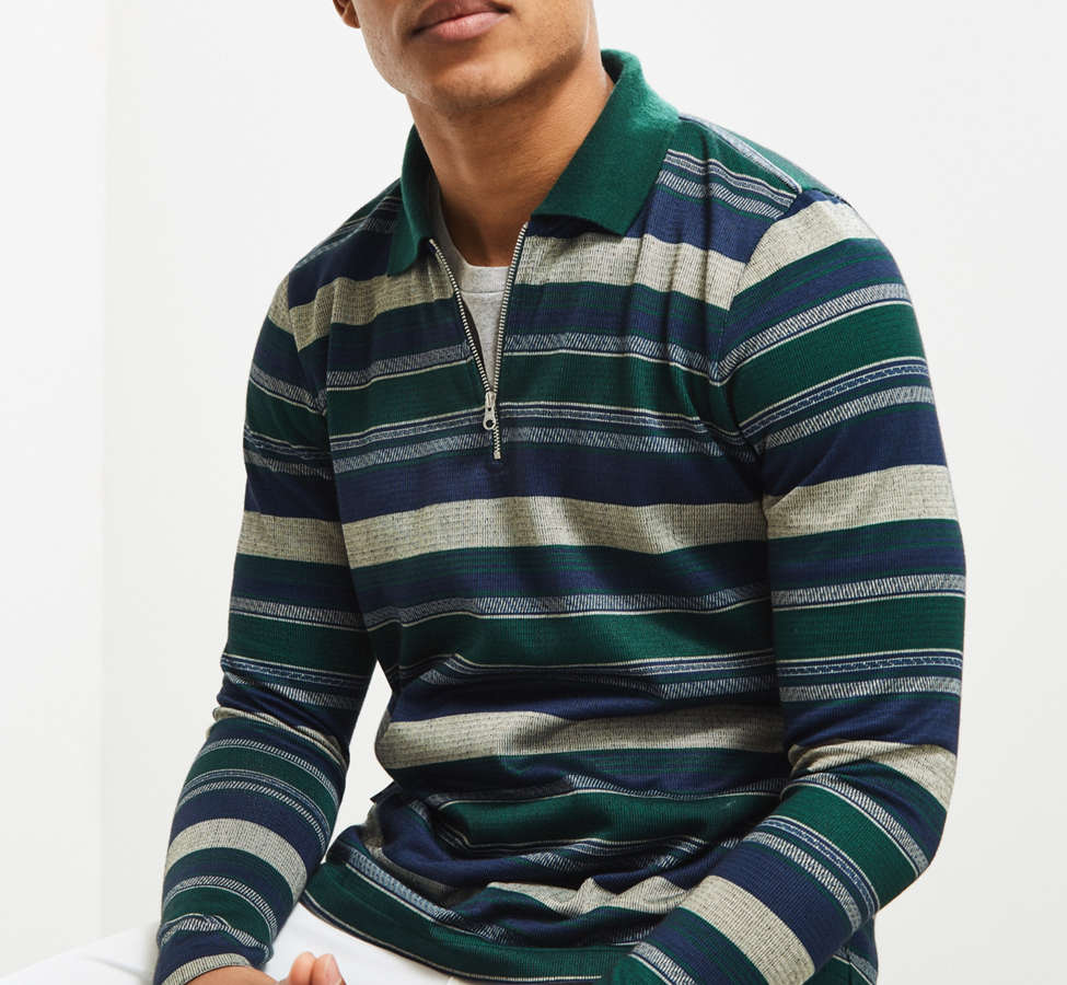 Slide View: 1: Le Fix Pattern Knit Zip Polo Shirt