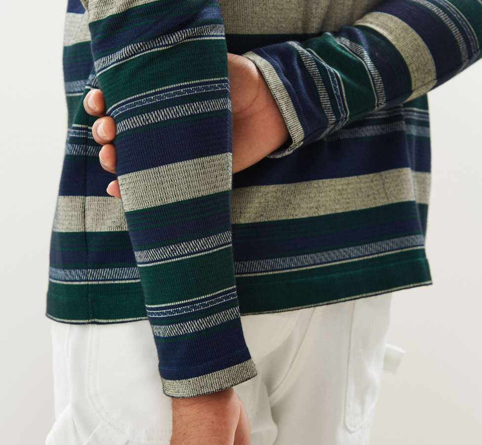 Slide View: 2: Le Fix Pattern Knit Zip Polo Shirt