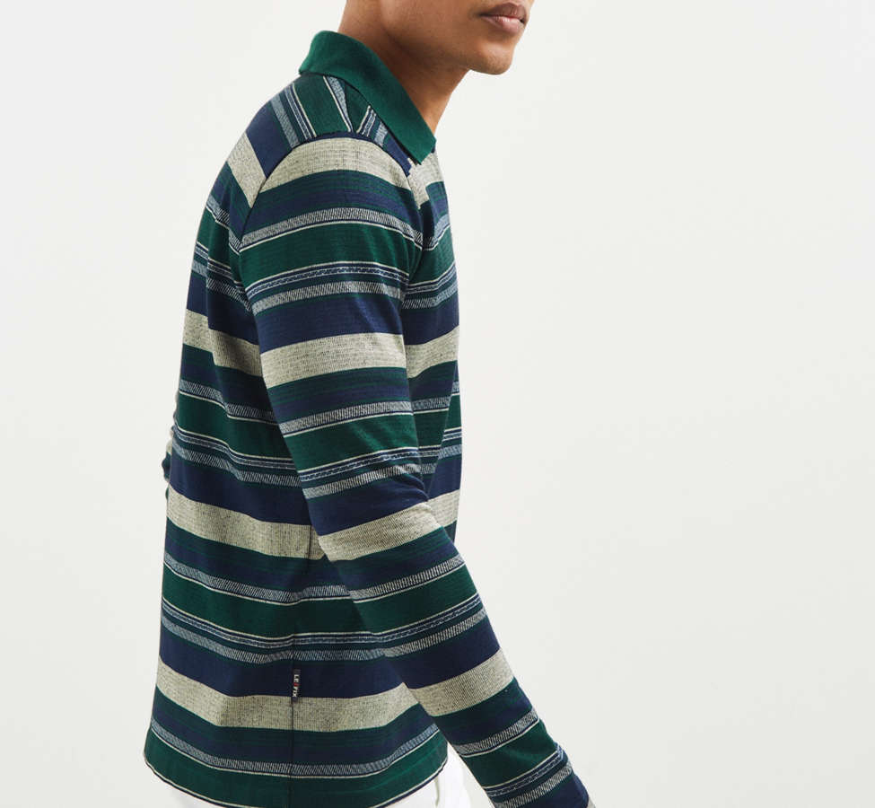 Slide View: 3: Le Fix Pattern Knit Zip Polo Shirt