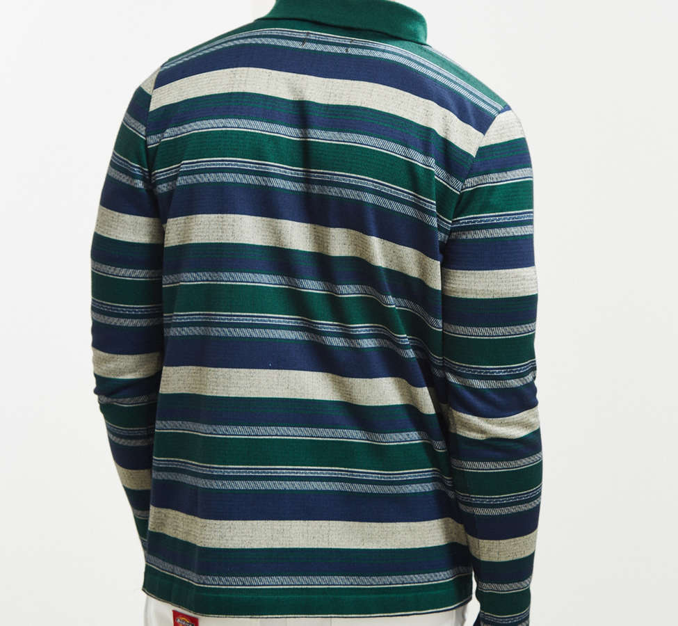 Slide View: 4: Le Fix Pattern Knit Zip Polo Shirt