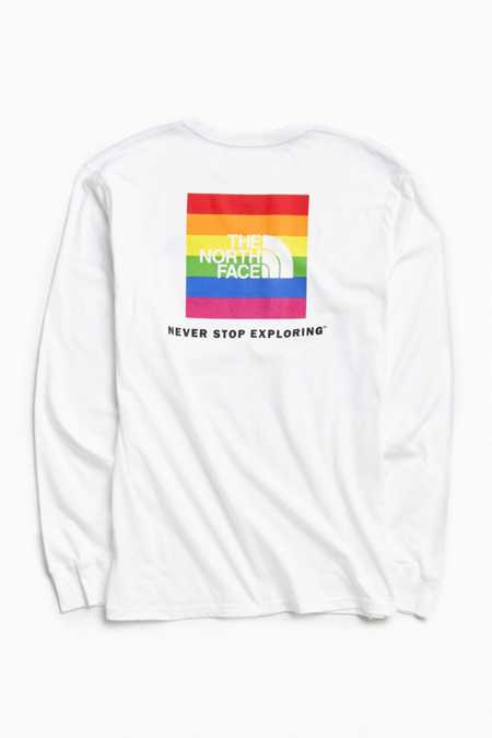 The North Face Rainbow Box Logo Long Sleeve Tee